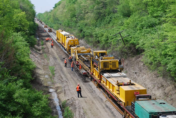 Track reconstruction underway on the Chicago - St. Louis corridor in 2011.