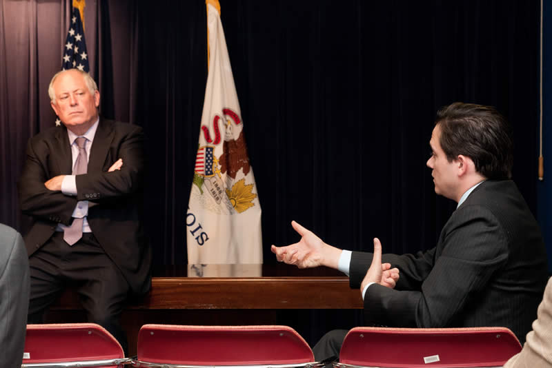 Illinois Governor Quinn (left) and MHSRA's Government Affairs representative Dan Johnson discuss railroad policy.